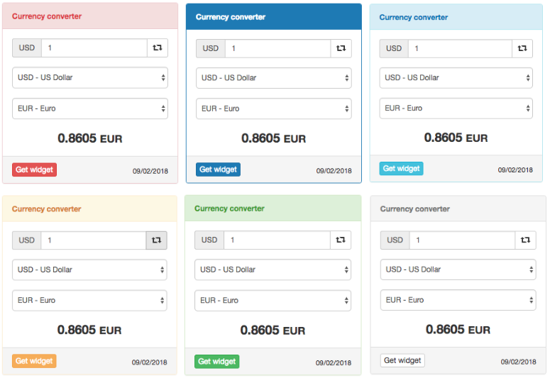 Currency converter widgets styles